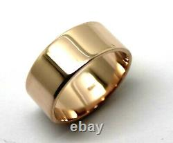 Taille N Genuine Heavy New 9ct 9k Rose Gold / 375, Full Solid 8mm Wide Band Ring