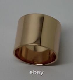 Taille P Véritable Lourd 9ct Rose Or Plein Solide 16mm De Large Anneau De Bande Profil Plat