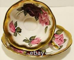 Treasure Chest Royal Albert Tea Cup & Saucer Énorme Rose & Rouge Roses Heavy Gold