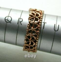 Unusual Beautiful Heavy 14 Carats Rose Gold Pearl And Diamond Bague Taille S. 1/2