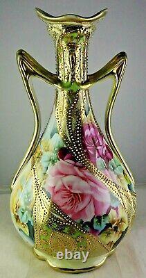 Vase De Porcelaine Nippon Antique Grandes Roses Or Lourd Trim Bleu Feuille D'érable Marque