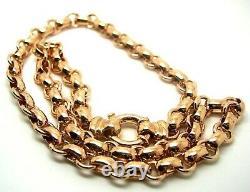 Véritable 9ct Rose Gold 375, Solid Heavy Oval Belcher Necklace Chain 45cm De Long