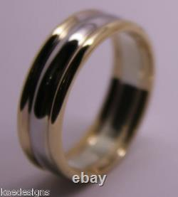 Véritable Full Solid 9ct White & Rose Gold Heavy Band Ring Size X