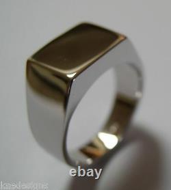 Véritable Heavy Solid 9ct White Or Rose Or Yellow Gold Rectangular Men Signet Ring