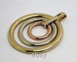 Véritable Solide Solide 9ct 9k Jaune, Blanc Et Or Rose 375 3 Cercles Pendentif