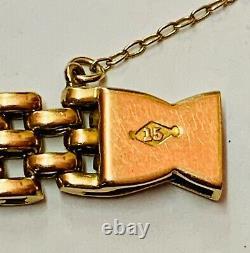 Victorian 15ct Rose Gold Fancy Gate Bracelet Vers 1900 Lourd 20,6g