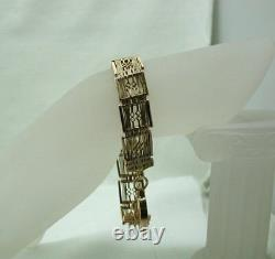 Victorian Heavy Superb 9 Carat Rose Gold 18 Bar Fancy Gate Lien Bracelet