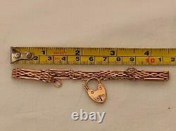 Vintage 9ct Heavy Rose Bracelet De Porte En Or Avec Chaîne De Sécurité Padlock Hallmarked
