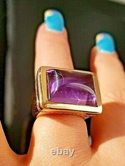Vintage Améthyste Cabochon Vs Diamond Heavy 26 Grammes Rose Or Bague 18k