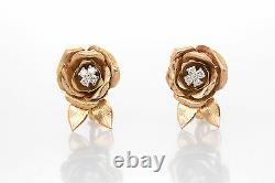Vintage Années 1950. 50ct Vs H Diamond Rose Flower 14k Boucles D'oreilles Leverback D'or Lourd