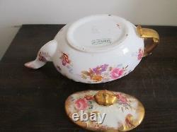 Vintage Hammersley Angleterre Théière En Porcelaine Heavy Gold Flowers Rose