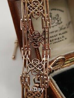 Vintage Heavy 9ct Rose Gold Fancy Link Gate Bracelet Chaîne De Montre