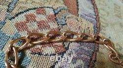Vintage Heavy 9ct Rose & Or Jaune Coeur Padlock Bracelet / Bracelet De Charme