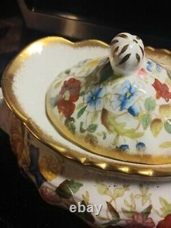 Vintage Historic Hammersley England Bone China Teapot Heavy Gold Flowers Rose