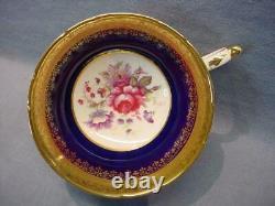 Vintage Paragon Cobalt Bleu Rose Bouquet Teacup & Saucer Heavy Gold