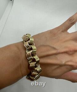 Vintage Rose Jaune 18k Or Chunky Lourd 119,6g Multi Cercle Lien Bracelet Rose