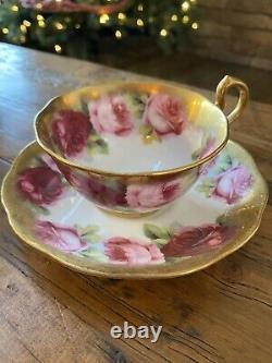 Vintage Royal Albert Anglais Rose Teacup & Saucer Heavy Gold Gilded Bords