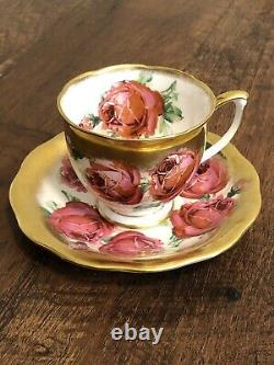 Vtg Htf Rare Reine Anne Pink Cabbage Rose Floral Cup & Saucer Heavy Gold Gilding